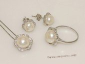 pnset678 Sterling Silver Jewelry Set Bread Pearl Pendant Earring and Rings