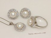 pnset679   925silver  jewelry set with 8-8.5mm bread pearl in round circle style