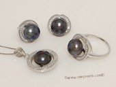 pnset683 Round Circle Zirocn Pave 925silver  jewelry set with Freshwater bread pearl