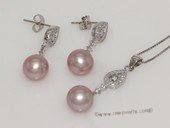 pnset691 Sterling Silver Jewelry Set Freshwater Pearl Pendant Earring Set