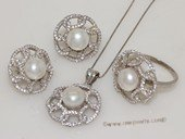 pnset695 Fashion 925silver Zircon Paved jewelry set with 8-8.5mm bread pearl