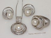 pnset696  Fashion 925silver Zircon Paved jewelry set with 8-8.5mm bread pearl