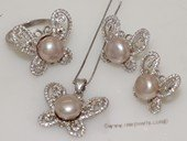pnset697 Sterling Silver Jewelry Set Bread Pearl Pendant Earring and Rings