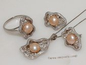 pnset698 Sterling Silver Jewelry Set Bread Pearl Pendant Earring and Rings