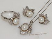 pnset699 Sterling Silver Jewelry Set Bread Pearl Pendant Earring and Rings