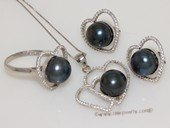 pnset700 Sterling Silver Jewelry Set Bread Pearl Pendant Earring and Rings