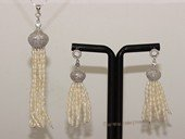 pnset713  Tassel Pearl Jewelry Set in Sterling Silver with Seed Pearls & Zircon