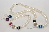 pnset717  Beatiful  Freshwater Potato Pearl classic style Necklace Jewelry Set