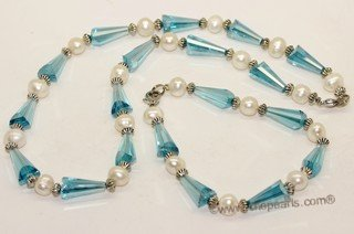 pnset719 Beatiful freshwater potato pearl &cone shape man-made crystal beads jewelry set