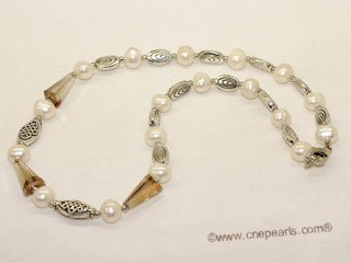 pnset723 Beatiful freshwater potato pearl &white color man-made crystal beads jewelry set