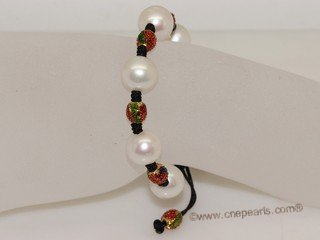 pnset724 12-13mm round  white pearls necklace and bracelets Jewelry Set