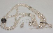 pnset726 Two Rows Hand-knotted Freshwater Pearl Necklace Set