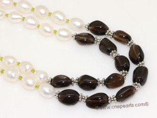 pnset730 Two Rows Hand-knotted Freshwater Pearl and Gemstone Necklace Set