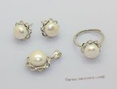 pnset736  Sterling Silver Jewelry Set Bread Pearl Pendant Earring and Rings
