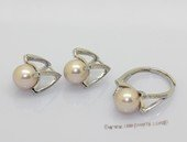 Pnset738 Beautiful Cultured Round Pearl Sterling Silver Ring & Earrings Set