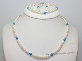Pnset743 Fashion Freshwater Potato Pearl and Turquoise Beads Princess Necklace,Bracelt& Earrings