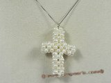 pp001 Beautiful  white cultured  Pearl Cross Pendant  wholesale