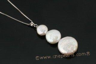 pendant jewelry, Triple gradual size freshwater coin pearl pendant pp012 Cnepearls Ltd
