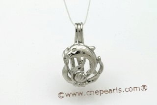 ppm007 Ten Pieces Love Pearl Cage Pendant in Silver Toned Copper