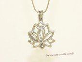 ppm029 Big size lotus ten pieces silver plated copper wish pearl pendant&cages