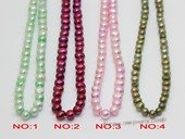 pps005 Five strands dye color 5-6mm potato pearls strands
