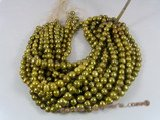 pps021 Olive green 9.5-10.5mm whorl potato pearl beaeds strand