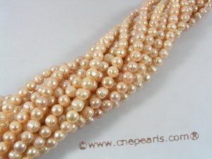 pps023 Nature pink whorl potato freshwater pearl strand in 10.5-11.5mm
