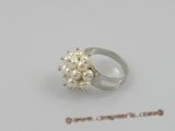 pr001 4-5mm white potato pearls ring with adjustable 18KGP mounting