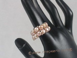 pr009 double-strands Purple bread Pearl Stretch Ring