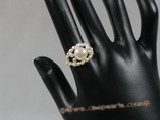 pr010 single row handcraft  freshwater rice pearl rings
