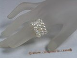pr011 triple-strands white bread Pearl Stretch Ring in wholesale