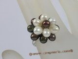 pr015 Multicolor Flower cluster rice pearls sterling adjustable ring
