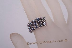 pr018 triple-strands bread Pearl Stretch dinner Ring in wholesale