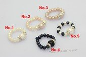 pr032 Handcraft single row freshwater potato pearl Stretch rings