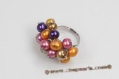 pr043 Handcraft Colorful Potato pearl Silver toned Adjustable Ring