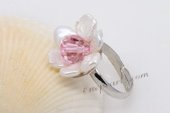 Pr044 White Color Keshi Pearl & Crystal Adjustable Silver Toned Rings