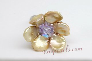 Pr045 Silver toned Champagne Color Keshi Pearl Adjustable Rings