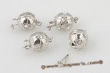psnc016 Ball shape silver plated push in clasp with zircon