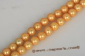 Round013 10.5-11.5mm Golden Color Freshwater Round Pearl Strand in AA+ Grade