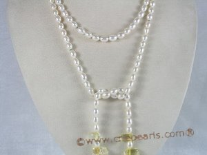 "RPN001 48"" 6-7mm white rice pearls decorated with citrines"