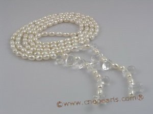 "RPN002 48"" 6-7mm white rice pearls decorated with crystals"