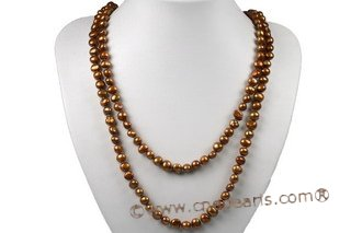 rpn003 8-9mm Coffee nugget freshwater pearl rope neckace