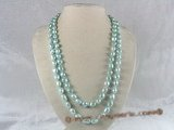 rpn004 8-9mm sky bule nugget shape pearls rope neckace