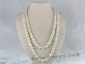 rpn005 9*11mm white nugget shape cultured freshwater pearls rope neckace