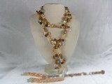 rpn006 8-9mm saffron yellow blister pearls rope neckace with 6 pearl braids