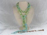rpn007  48 inches long necklace with six 3-4mm bule double-shiny pearl braids