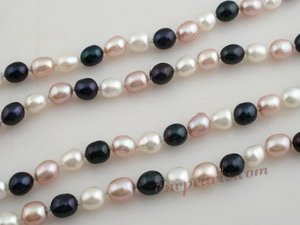 rpn013 6-7mm multi color rice shape freshwater pearl Opera neckace