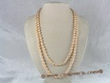 rpn015 6-7mm pink rice freshwater pearl long neckace