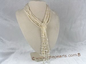 rpn018 three strands  3-4mm white smooth on both sides pearl Opera neckace