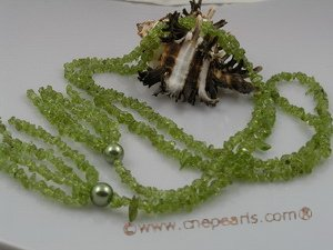 rpn019 Long necklace with peridot beads & 10mm seasehll pearls